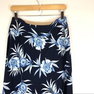 Talbots Floral Maxi Skirt Blue Black M